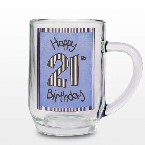 Blue 21st Happy Birthday Tankard Gift Keepsake